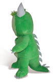 "Happy the Hodag premium plush toy stands 12"" tall, is self-standing and features an embroidered sage and green face and soft green fur. Side view."