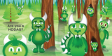 First illustrated spread from the book HODAG. Bright multi green illustration features trees and nine new Hodag characters and also Happy the Hodag