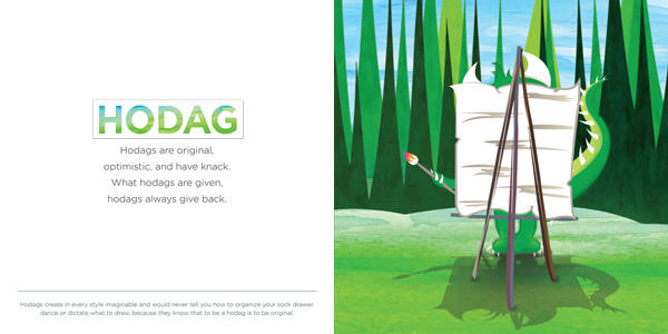 A colorful illustration of Happy the Hodag painting in the forest from the book HODAG, a happy the hodag book