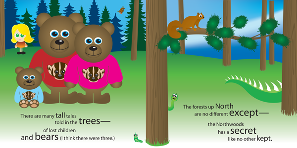 A bright illustration from Tales From The Trees starring Happy the Hodag and Buddy the Bulldog. This scene shows Goldy Locks and the three bears, a very surprised squirrel and a hodag tail sticking out of the trees.