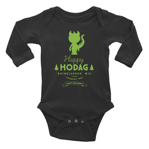 Charcoal grey onesie with a lime green Silhouette of Hodag above text Happy Hodag Rhinelander, WIS founded in 1882 happy the Hodag