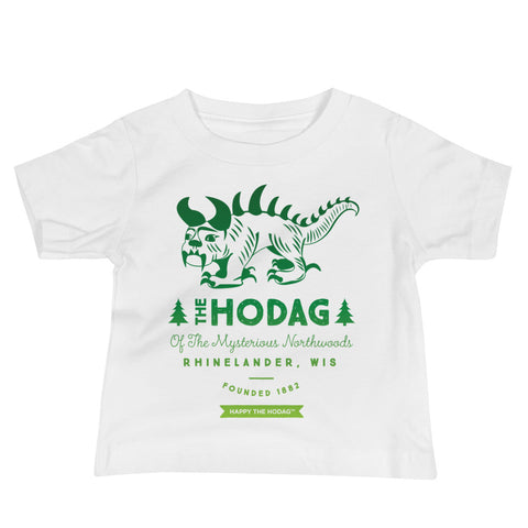 Vintage Hodag monster illustration with the words The Hodag of the mysterious Northwoods, Rhinelander, wis, founded 1882, happy the Hodag underneath