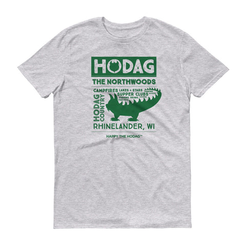 Heather grey t-shirt with a silhouette of a hodag surrounded by the words: hodag, Northwoods, campfires, lakes, stars, supper clubs, country, and Rhinelander, wi.