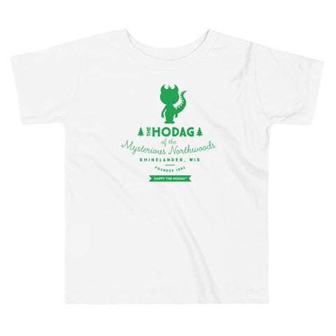 Silhouette of happy the Hodag in green with the words 'the Hodag of the mysterious Northwoods, Rhinelander, wis, founded 1882 underneath.