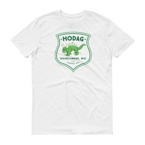 White t-shirt featuring printed badge artwork with a vintage Hodag and the text Hodag, Rhinelander, WI, founded 1882