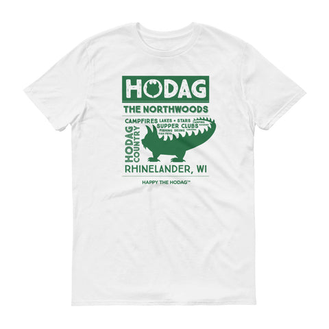 White t-shirt with a silhouette of a hodag surrounded by the words: hodag, Northwoods, campfires, lakes, stars, supper clubs, country, and Rhinelander, wi.