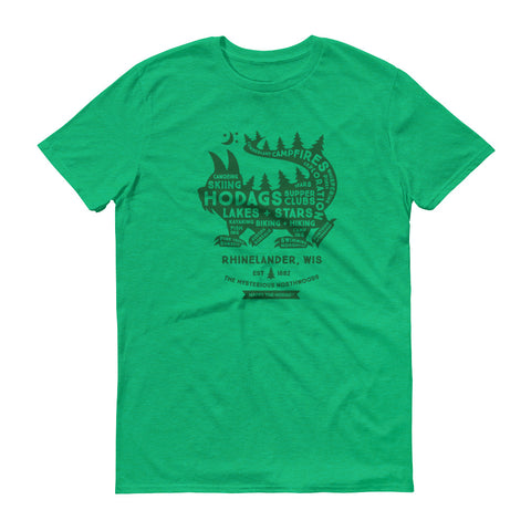Heather green t-shirt with words filling the dark green silhouette of a hodag. Some of the words are: hodag, Northwoods, campfires, lakes, stars, supper clubs, country, hiking, biking, skiing and Rhinelander, wi.