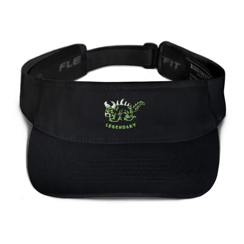 Black Visor with green and white vintage embroidered Hodag with the word legendary underneath.