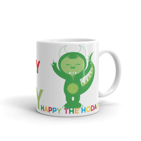 White porcelain coffee mug featuring colorful artwork of happy the Hodag and large text that says 'rock everyday likes it's Friday, happy the hodag'