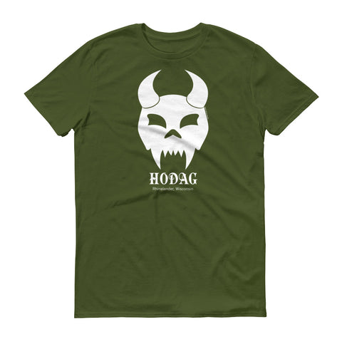 Hodag skull graphic with the text 'hodag, Rhinelander, Wisconsin' on an olive green cotton tee