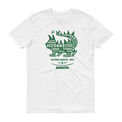 White t-shirt with words filling the dark green silhouette of a hodag. Some of the words are: hodag, Northwoods, campfires, lakes, stars, supper clubs, country, hiking, biking, skiing and Rhinelander, wi.