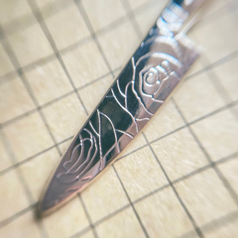 Silver Rose Knife Necklace