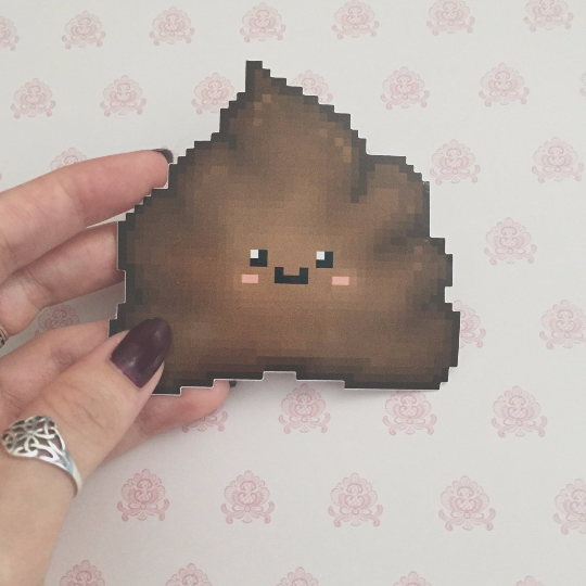 Poop Pixel Art Vinyl Sticker
