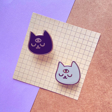 Third Eye Cat Head Enamel Pin