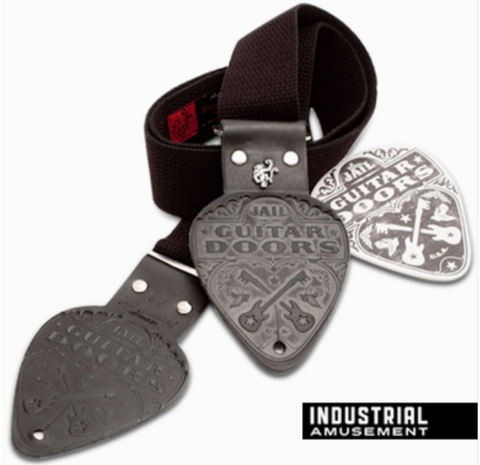 Jail Guitar Doors Leather Black Pick Ends Guitar Strap
