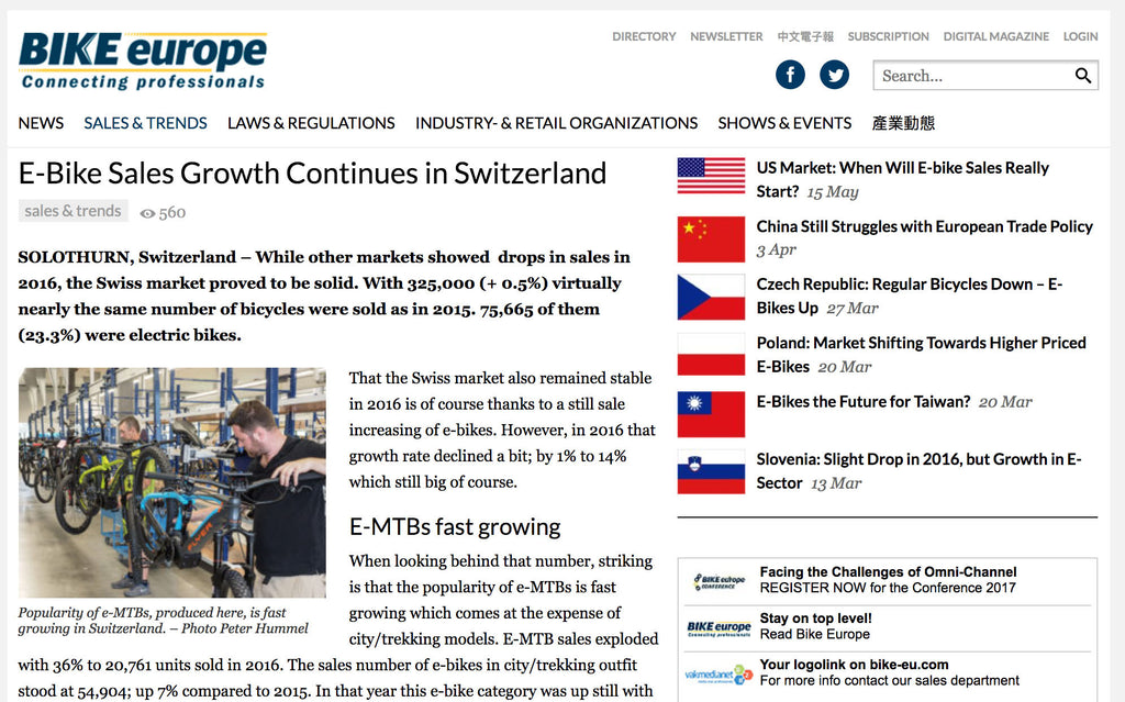 4c6688320ce Switzerland sees electric bikes taking a bigger share – Electric ...