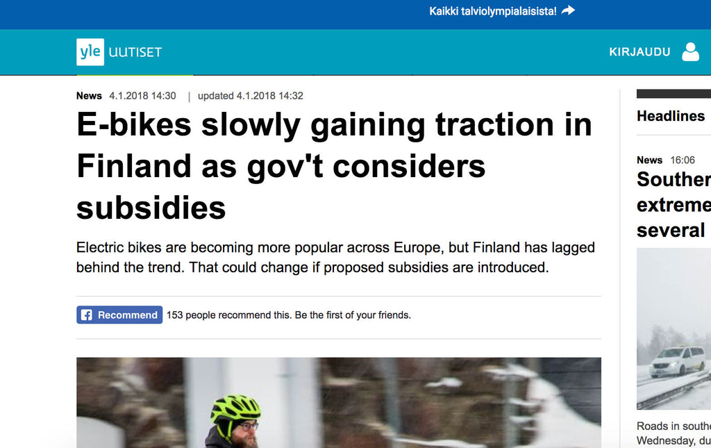 E-bikes slowly gaining traction in Finland as gov't considers subsidies