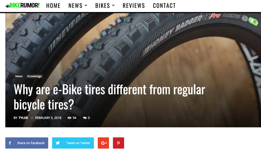 Why are e-Bike tires different from regular bicycle tires?