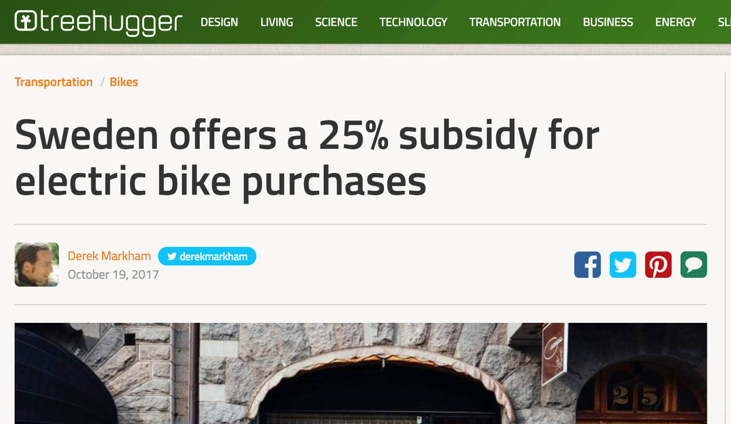 Sweden offers a 25% subsidy for electric bike purchases