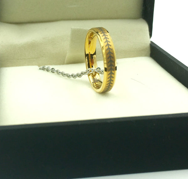 4mm Golden Tungsten Ring With Baseball Stitching (FREE SHIPPING)