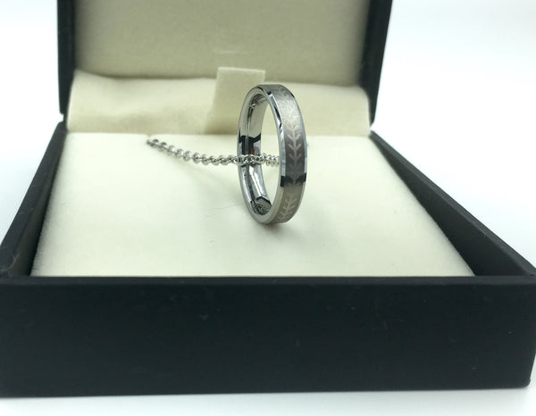 4mm Silver Tungsten Ring with Baseball Stitching (FREE SHIPPING)