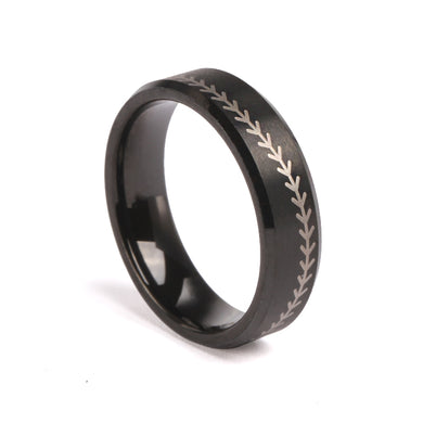 Tungsten 6mm Black Ring With Baseball Stitching and Chain (FREE SHIPPING)