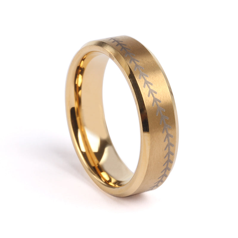 6mm Golden Tungsten Ring with Baseball Stitching and Chain (FREE SHIPPING)