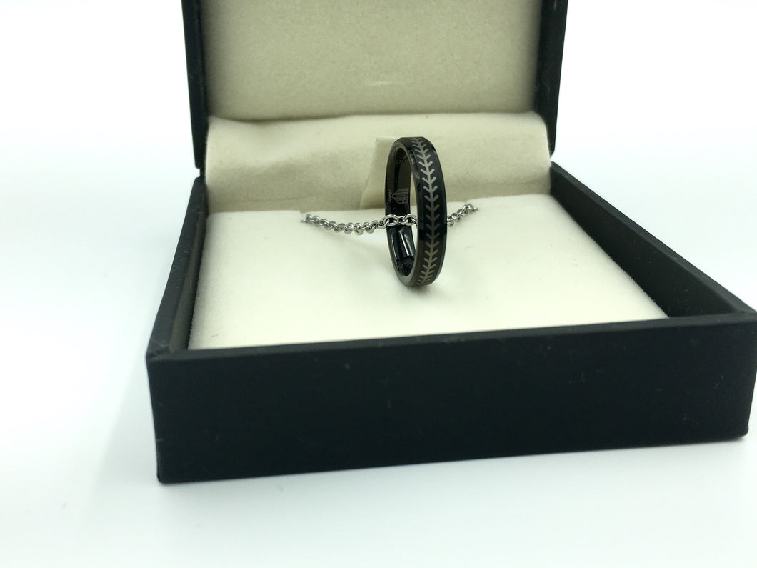 Tungsten 4mm Black Ring With Baseball Stitching (FREE SHIPPING)