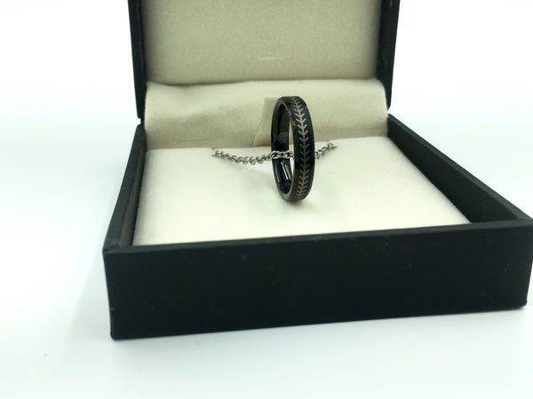 4mm Black Tungsten Ring With Baseball Stitching (FREE SHIPPING)