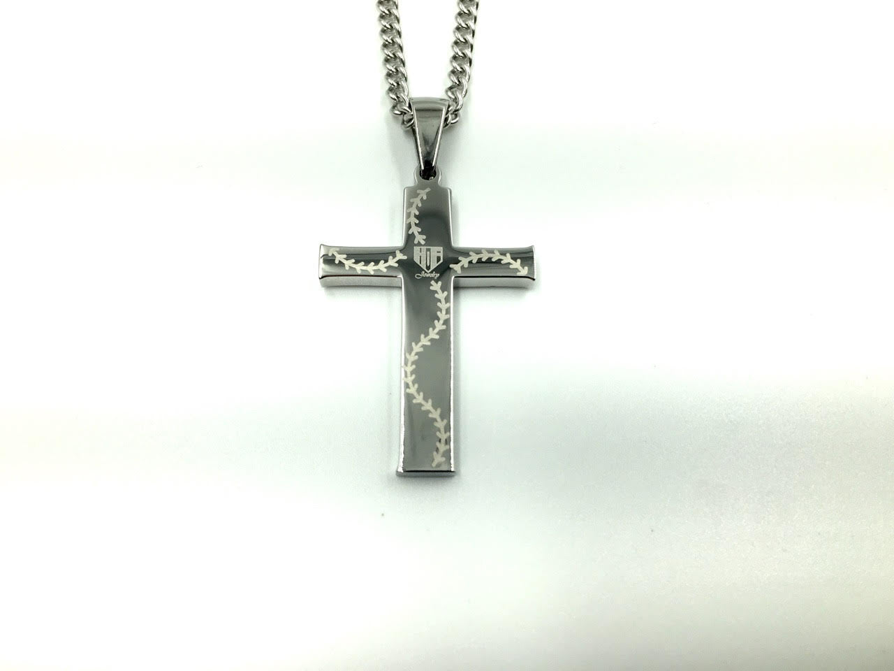 *                                                Stainless Stitched Bat Wood Inlay Cross Pendant and Chain (FREE SHIPPING)