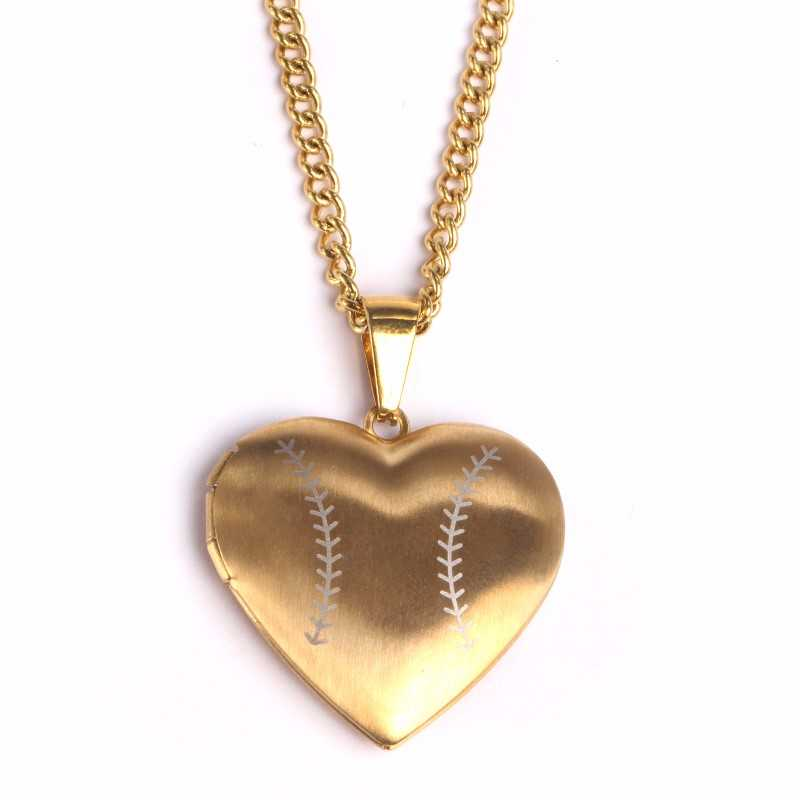 Golden Stainless Baseball Heart Locket and Chain (FREE SHIPPING)