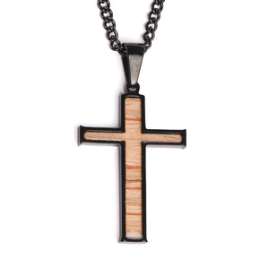 Black Stainless Stitched Bat Wood Inlay Cross Pendant and Chain (FREE SHIPPING)