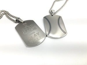 "Baseball Stitch ""KEEP CALM and PLAY BALL"" Engraving Dog Tag (FREE SHIPPING)"