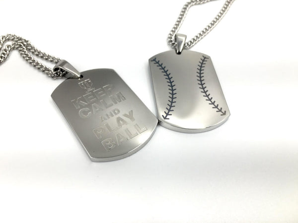 "*    Baseball Stitch ""KEEP CALM and PLAY BALL"" Engraving Dog Tag (FREE SHIPPING)"