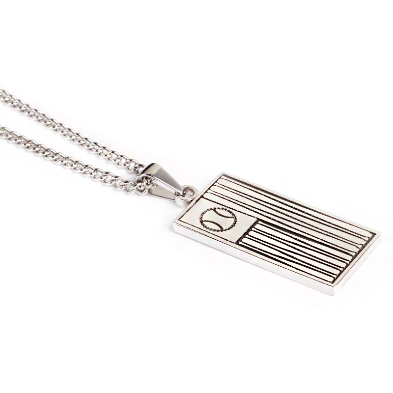 * NEW * Stainless Ballplayer Flag Pendant and Chain