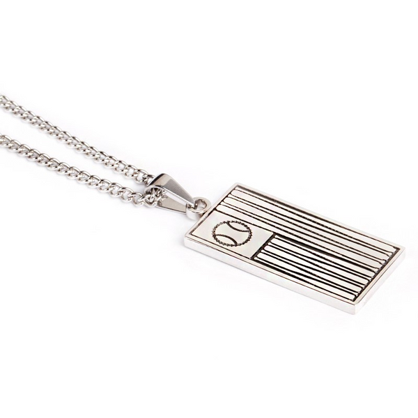 *     Stainless Ballplayer Flag Pendant and Chain