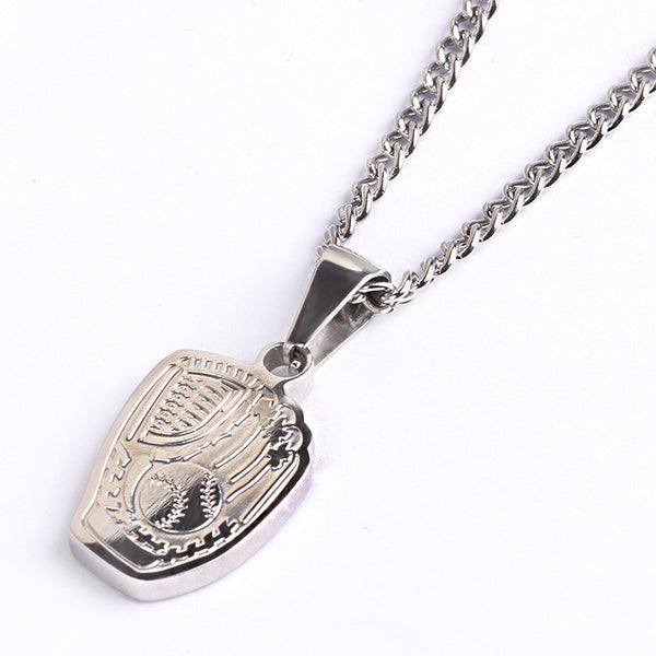 **NEW** Stainless Baseball Glove Pendant and Chain (FREE SHIPPING)
