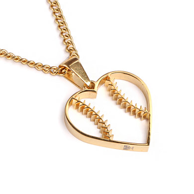 Golden Baseball Stitched Heart Pendant and Chain (FREE SHIPPING)