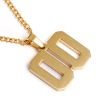 Golden Stainless Polished Jersey Number Pendant and Chain (FREE SHIPPING)