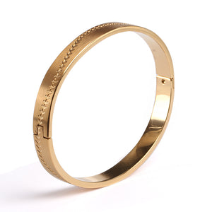Golden Steel Baseball Stitched Bangle Bracelet (FREE SHIPPING)