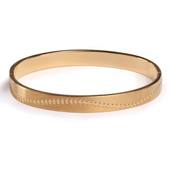 *                                      Golden Steel Baseball Stitched Bangle Bracelet (FREE SHIPPING)