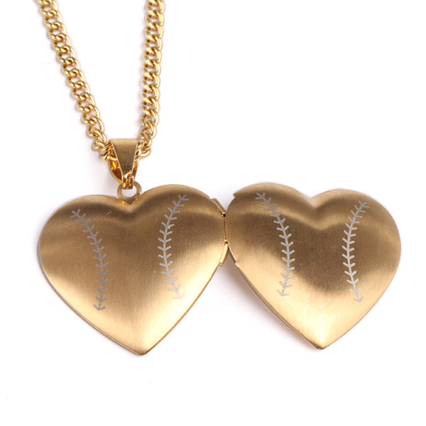 *        NEW * Golden Stainless Baseball Heart Locket and Chain (FREE SHIPPING)