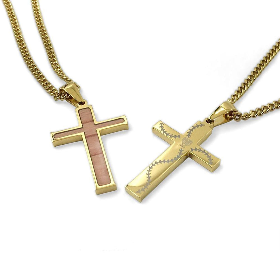 Golden Stitched Bat Wood Inlay Cross Pendant and Chain (FREE SHIPPING)