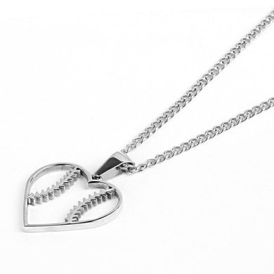 Stainless Baseball Stitched Heart Pendant and Chain (FREE SHIPPING)