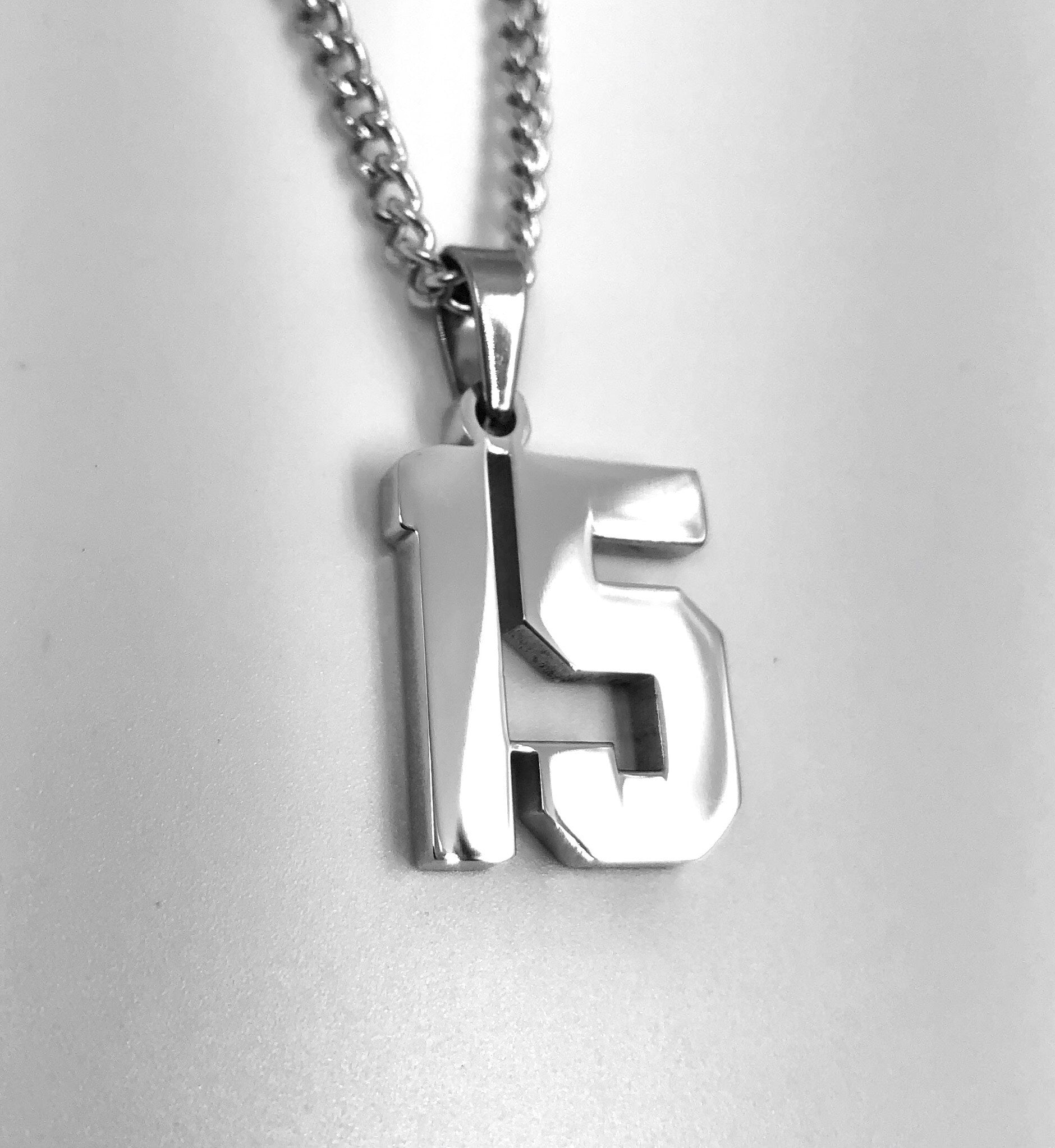 *                Polished Jersey Number Pendant with Chain Necklace (FREE SHIPPING)