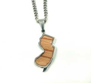 Stainless State of Mind Bat Wood Inlay Pendants and Necklace (AZ, TX, FL, CA, GA, IL, LA, MN, NJ, NY, OH WA)