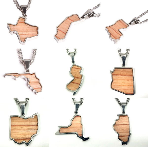 *                                   Stainless State of Mind Bat Wood Inlay Pendants and Necklace (AZ, CA, GA, IL, LA, MN, NJ, NY, OH, WA)