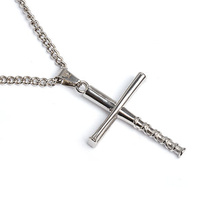 Stainless Stacked Bat Cross Pendant and Chain (FREE SHIPPING)
