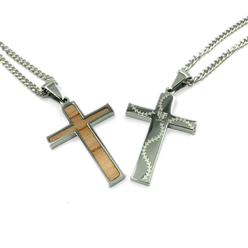 Stainless Stitched Bat Wood Inlay Cross Pendant and Chain (FREE SHIPPING)