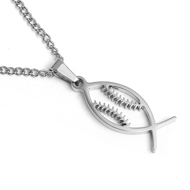 Stainless Jesus Fish Baseball Pendant and Chain (FREE SHIPPING)